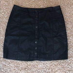 Free People Button Up Faux Leather Skirt
